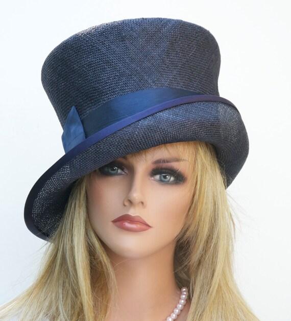 Navy Hat, Wedding Hat, Women's Navy Straw Hat, Church Hat, Wide Brim Hat, Derby Hat, Formal Hat, Dressy Hat, Navy Blue Hat, Tailored Hat