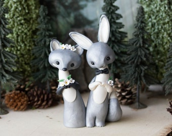 Silver Fox and Grey Hare Wedding Cake Topper by Bonjour Poupette