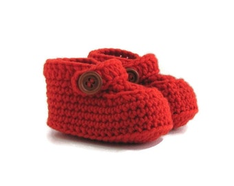 Baby Moccasin Loafers in Orange Merino Wool