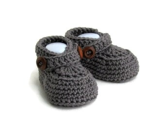 Baby Moccasin Loafers in Gray Merino Wool