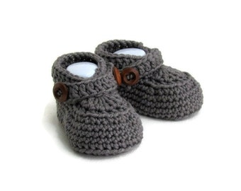 Gray Baby Shoes, Baby Loafers, Baby Boy Booties, Knitted Baby Booties, Knit Baby Booties, Cashmere Merino Wool, Baby Gift, Warm and Woolly