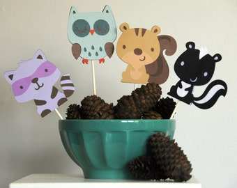 Party and Shower Decor - Woodland and Forest Friends - 4ct - Raccoon, Owl, Squirrel, Skunk