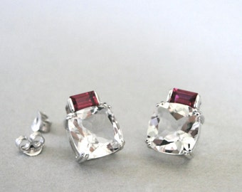 Austrian Crystal Studs, Sterling Silver Art Deco Studs, Crystal Earrings, Jewelry, Birthday Gift for Her, Crystal Earrings, Crystal Studs