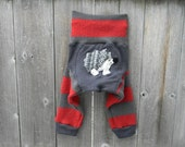Upcycled Wool Longies Soaker Cover Diaper Cover With Added Doubler Red/ Gray Stripes  With Hedgehog Applique MEDIUM 6-12M Kidsgogreen
