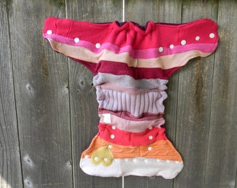 Upcycled Wool Nappy Cover Diaper Wrap Cloth Diaper Cover One Size Fits Most Rainbow/ Magenta