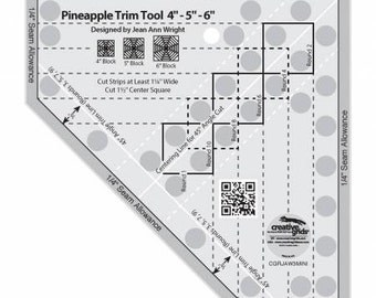 Quilt Ruler, Creative Grids Pineapple Trim Tool Mini, Pineapple Acrylic Ruler, Creative Grids, Jean Wright, FREE PATTERN Included