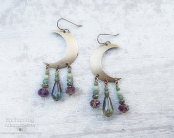 GYPSY .:. Bohemian Style Crescent Moon earrings with picasso czech glass, aged brass