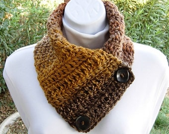 NECK WARMER Scarf, Gold Yellow Dark Brown Caramel Orange, Wood Buttons, OOAK Soft Crochet Knit Winter Striped Buttoned Cowl..Ready to Ship