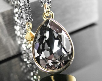 Dark Silver Grey Crystal Necklace Sterling Silver Chain Necklace Swarovski Crystal Pendant Necklace Gold Black Crystal Teardrop Jewelry