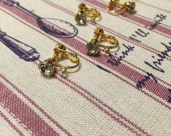 4 pcs of Real gold plated Czech drill ear clip