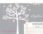 Nursery tree decal - white tree decal - baby wall decal- tree and birds decal- tree wall sticker