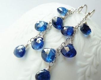 SALE Sapphire silver earrings. Dangle earrings. September Birthstone jewelry. Drop earrings. Cluster. Sapphire birthstone earrings. Royal bl