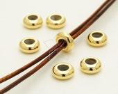 ME-228-GD / 4 Pcs - Bead blocker Stopper for 2.5mm - 3mm Leather Necklace or Bracelet, 16K Gold Plated over Brass / 7.7mm