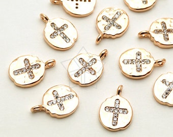 PD-1463-RG / 2 Pcs - CZ Cross Oval Pendant (Small Size), Hammered Texture, Rose Gold Plated over Brass / 7mm x 10.7mm
