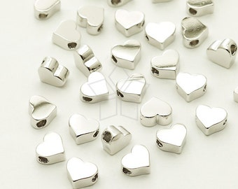 ME-233-OR / 4 Pcs - Tiny Flat Heart Bead Centerpiece, Silver Plated over Brass / 5mm x 4.3mm