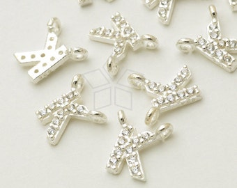 IN-408-SS / 1 Pcs - New CZ Initial Pendant, Letter Charm, Alphabet, Upper case, K, 925 Sterling Silver / 5mm x 5.5mm