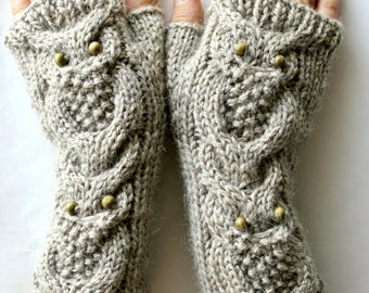 Hand Knitted Owls Arm Warmers in Ash Beige Color, Gift for Her, Wool Mittens, Eco Friendly