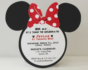 RED Minnie Mouse Invitation | RED Polka Dot Bow | Qty 55 +