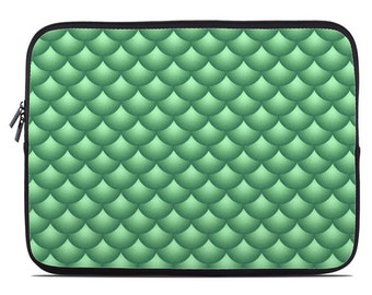 Fish scale tablet case, tablet sleeve, green laptop sleeve, modern laptop cover, scallops laptop case, to fit 10, 13, 15, 17 inch