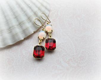 Vintage Fuchsia Rhinestone earrings, Vintage White Opal Rhinestone earrings, 14k Gold Filled earrings