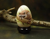 Raccoon/ Hand Painted Goose Egg Shell/ Egg Art/ Hand Painted Animal