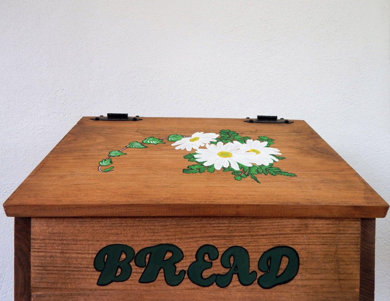 Bread Box Daisy Bread Box Daisy Decor Wooden Bread Box Bread Storage Daisy Kitchen Decor Storage