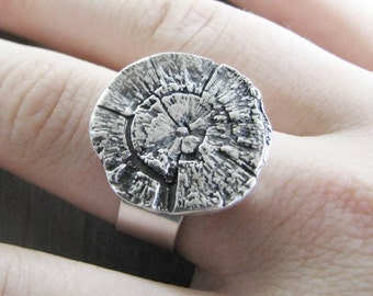 The Secret Lives of Trees, Fine Silver Tree Rings and Texture Ring, Handmade by SilverWishes