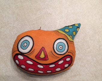 Original Handmade Halloween Pumpkin JOL Ornament Creepy Cute Folk Art Doll Orange Black