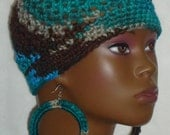 Ready to Ship Blue Betty Crochet Skullcap Beanie Snug Fit with Earrings by Razonda Lee Razondalee