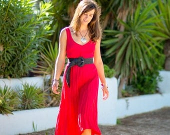 Bright Red Midi  -  Summer Dress in Red 100% Pure Crinkled Linen, more colours available
