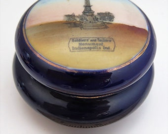 VTG Porcelain Trinket Box Soldiers and Sailors Monument Indianapolis DRESDEN GERMANY