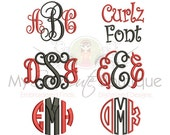 Embroidery Fonts Pack, Embroidery monogram font pack, Monogram Font For Embroidery Pack, Interlocking Intertwined Vine Embroidery Fonts Pack