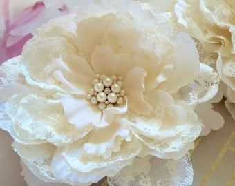 Luxe Design Ivory Lace Flower Hair Clip/ Sash/ Brooch