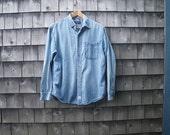 Levi Strauss Light Faded Denim Shirt Mens Single Pocket Style Medium