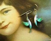 Cloisonne Enamel Hummingbird Earrings Gold Washed Sterling Silver
