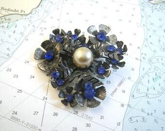 Blue Rhinestone Bouquet Brooch - Silver Pot Metal Setting