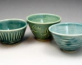 3 Teal-Green Mini  Ceramic Prep or Trinket Bowls - -Storage-Dessert-Cooking-Nut or Candy Holder