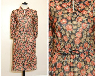 60s 70s Sheer Black Floral Dress Medium Tie Collar Peter Pan Collar Belted Retro Vintage