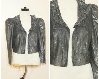 Silver Metallic Cropped Jacket Small Medium Ruffle Collar 70s 80s Disco Party Top