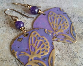 Purple Rustic Butterfly Drop Earrings, patina'd, czech glass, brass, Vintaj, embossed
