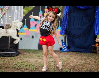 Mickey Mouse Inspired Everyday Dress Up PlaySet, Two Piece Crop Top and bloomers...Made to Order, size 6m-6