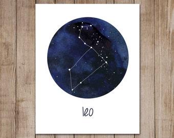 Leo Print Zodiac Constellation Watercolor Astrology Horoscope Digital Art Print