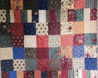 Patchwork Quilt Scrap Baby Crib Lap Folk Art Harvest Fall Primitive Country – 36 x 40 inches