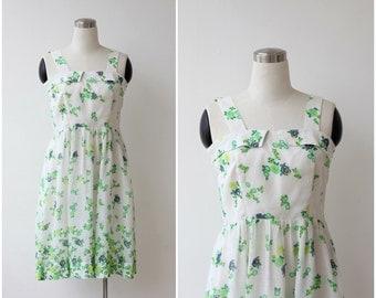 1960s mod White floral dress cotton summer dress day dress S M