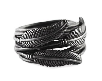 Black Feather Ring Oxidized Sterling Silver Mens Cool Rings