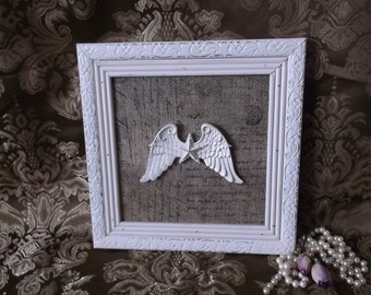 Star and wings, shabby white and burlap inspired wall assemblage, repurposed decor