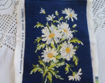 Vintage Daisy Needlepoint Completed 9 x 13 inches Navy Blue Background Finished Needlepoint  Frameable Crafts Repurpose 1970's