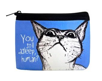 Peeking Cat Human Coin Purse Zipper Pouch