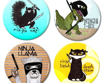 Ninja Animals Magnet Set 1 - Pack of 4 Magnets by Pithitude