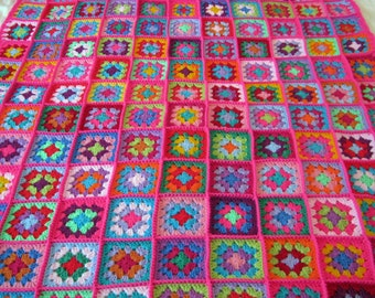 PINK Fusion Granny Squares Afghan Blanket Bright Vivid Crochet